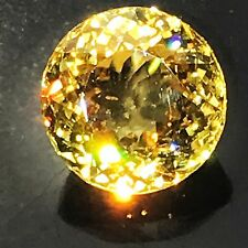 Natural 15.78 Carat Golden Yellow Zircon 13mm Round Genuine Loose Gemstone Rare