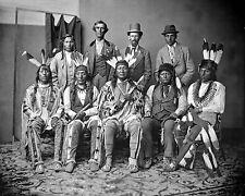8x10 Photo Mandan and Arikara delegation. Six Indians with three escorts - 1874