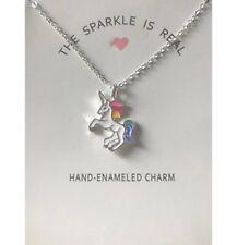 Unicorn pendant necklace chain multi kids girls costume jewellery party gift UK