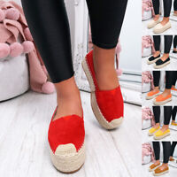 WOMENS LADIES SLIP ON BALLERINAS ESPADRILLE FLATFORM PARTY CASUAL SHOES