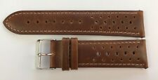 STRAP REAL LEATHER CORREA WATCH BAND RACING RALLY BROWN HIGH QUALITY NEW 22mm