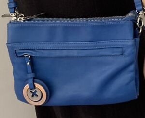MIMCO MIM DUO LEATHER HIP BAG IN BLUE