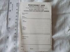 Vintage PROVIDENT LIFE INSURANCE CHANGE OF ADDRESS CARD c1970s MONEY VGC
