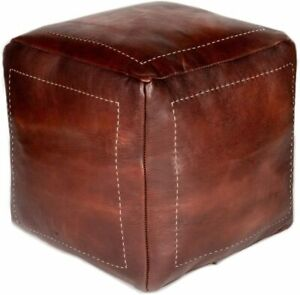 Moroccan Leather Cube Pouf Ottoman Cover Square Moroccan Pouf Natural Brown