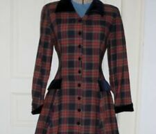 New listing Vtg Laura Ashley Plaid Wool Blend Dress Size 6 Button Down Red Green Excellent