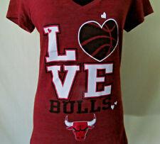 NBA Chicago Bulls Womens Size Large (Fits Like M) Love Deep V-Neck Tee Shirt Top