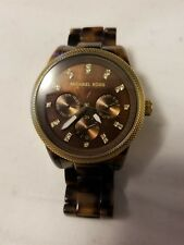 MICHAEL KORS TORTOISE ACRYLIC CHRONOGRAPH  WITH CRYSTALS BRACELET WATCH MK-5038