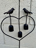"Hanging Cast Iron Love Birds Heart Bell Wind Chime. 3 Birds 4 Bells. 28"" Overall"
