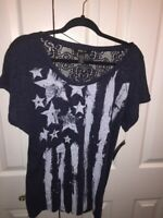 Style & Co Womens Blouse Blue Stars Crochet Embellished Scoop Neck Top L New