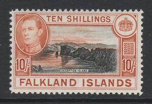 Falkland Islands 1938-50 George VI 10/- Black and orange SG 162a Mint.
