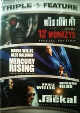 3 BRUCE WILLIS Movies MERCURY RISING Col'sEd 12 MONKEYS Sp Ed The JACKAL Col'sEd