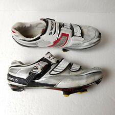 Shimano Mens Cycling White Buckle Shoes Size US 9.7 EU 44 SH-R240 Custom Fit