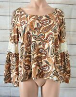 Sportsgirl Smock Top Blouse Shirt Size Small Orange Brown Paisley