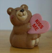 Vintage Hallmark Merry Miniatures Valentine Bear Kiss Me Heart 1991 Figurine