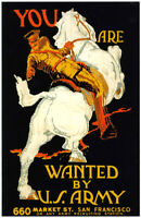 """Vintage U.S. Army Recruiting  poster """"You are wanted by US Army""""  WW 1"""