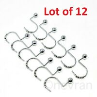 Shower Curtain Hooks Rust Proof Ring Metal Chrome Single Roller Glide 12 PCS