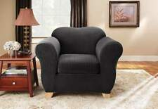 Stretch Pinstripe Two Piece Chair Slipcover sure fit