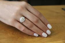 2.5ct Round Brilliant Halo Orange Sapphire Engagement Ring 14K White Gold Over