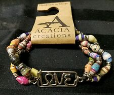 Love Recycled Paper Beads Stretch Bracelet Handmade Fair Trade Kenya Africa