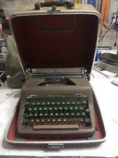 Vintage Royal Quiet DeLuxe Portable Typewriter Grey with Green Keys Locking Case
