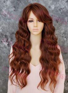 Dark/Red Auburn e Long Spiral Curls Heat OK Human Hair Blend Wig EVBF 33/130