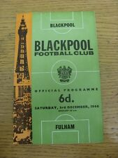 03/12/1966 Blackpool v Fulham  . Item appears to be in good condition unless pre