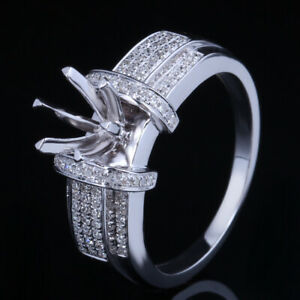 Natural Diamond Engagement Semi Mount Setting Round 6.5mm 10K White Gold Ring