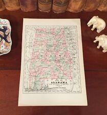 Original 1892 Antique Map ALABAMA Tuscaloosa Tuscumbia Talladega Tuskegee Mobile