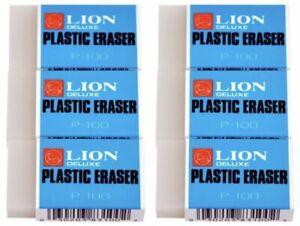 ***(2) LION PLASTIC ERASERS P-100  ~WORLD BEST ERASER~***
