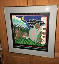 Vintage 1987 NEW ORLEANS JAZZ FEST & HERITAGE FESTIVAL POSTER HUGH RICKS FRAMED