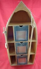 Nautical Wood Boat Shelf w/Drawers /Picture Frames /Paddles, Beach, Shore Decor