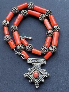 Coral Berber Cross Pendant & Orange Coral Bead Handmade Moroccan Tuareg Beckl