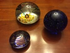 Lot of 3 Vintage GLASS PAPERWEIGHTS NICE!! Paper Weights