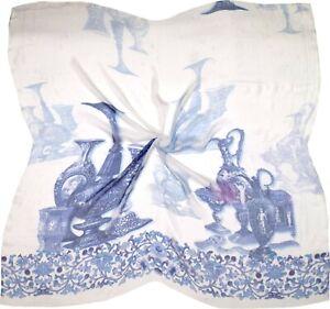White Blue Vase Printed Very Fine Silk Scarf (S3363)