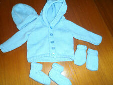 hand knitted baby boy hooded cardigan set 0-6 months