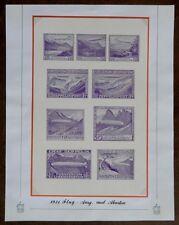 Liechtenstein 1931 essay sheet of 9 proposed Zeppelin designs (5 diff sheets)