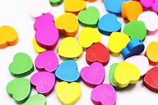 Heart Wooden Bead Heart-shape Mixed Colors Wood Large Flat Craft 17mm 100pcs