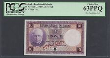 Iceland Landsbanki Islands 10 kronur L1928 P28ct Specimen Color Trial UNC