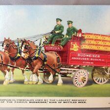 Budweiser Beer Clydesdales Advertising Folding Postcard Vintage Original