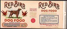 *Original* RED BIRD Dog Food IRISH SETTER Midland Groc OHIO Can Label NOT A COPY