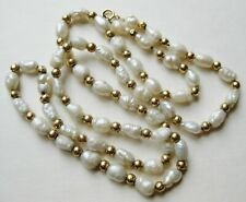 "Fine Vintage 14k Yellow Gold Pearl 18"" Choker Necklace Strand"