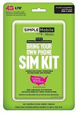Simple Mobile Byop 4g Lte Sim Kit new