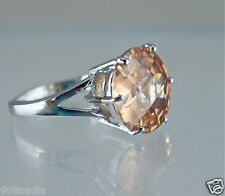 WOMAN'S RING SILVER PLATED,ROUND PEACH TOPAZ CRYSTAL FINE FACETED SIZE 8,25