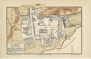 PLAN DER AUSGRABUNGEN VON OLYMPIA / W. DÖRPFELD, Original-Graphik 1888