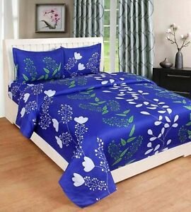 Indian Elegant Print Microfiber Double Bedsheet with 2 Pillow Covers- Floral