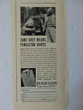 1937 ZANE GREY Wears PENDLETON SHIRTS  vintage art print ad