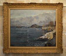"""DELPY Lucien Victor (1898-1967) """"Corniche à Marseille le soir"""" Provence Bretagne"""