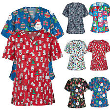 Womens Nursing Scrub Tops Printed Uniform Merry Christmas Short Sleeve T-Shirt