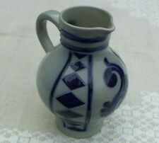 Goebel Merkelbach Salzglasur salt glaze jug, coblat blue, marked and signed