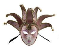 Maschera Di Venezia Volto Jolly Rosa E Dorata 7 Punte Per Ballo Costume 653 V79